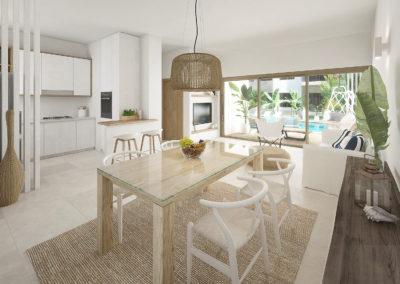 beach-garden-residences-condos-for-sale-punta-cana-cocina-salon-comedor-apartamento-tipo-A
