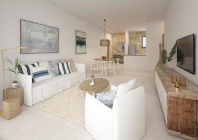 beach-garden-residences-condos-for-sale-punta-cana-salon-comedor-cocina-apartamento-B