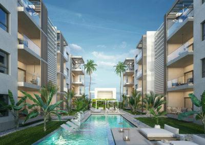 beach-garden-residences-condos-for-sale-punta-cana-zonas-comunes-exterior-atardecer